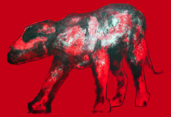 "Black Dog on Red           monoprint, image: 27"" x 17"", price on request  giclee prints available"