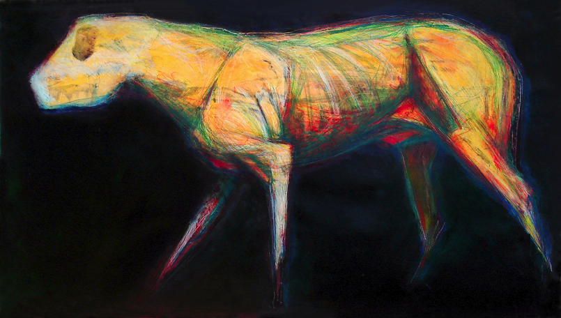"Dog Facing Left   monoprint, image: 48"" x 24"" , price on request  giclee prints available"