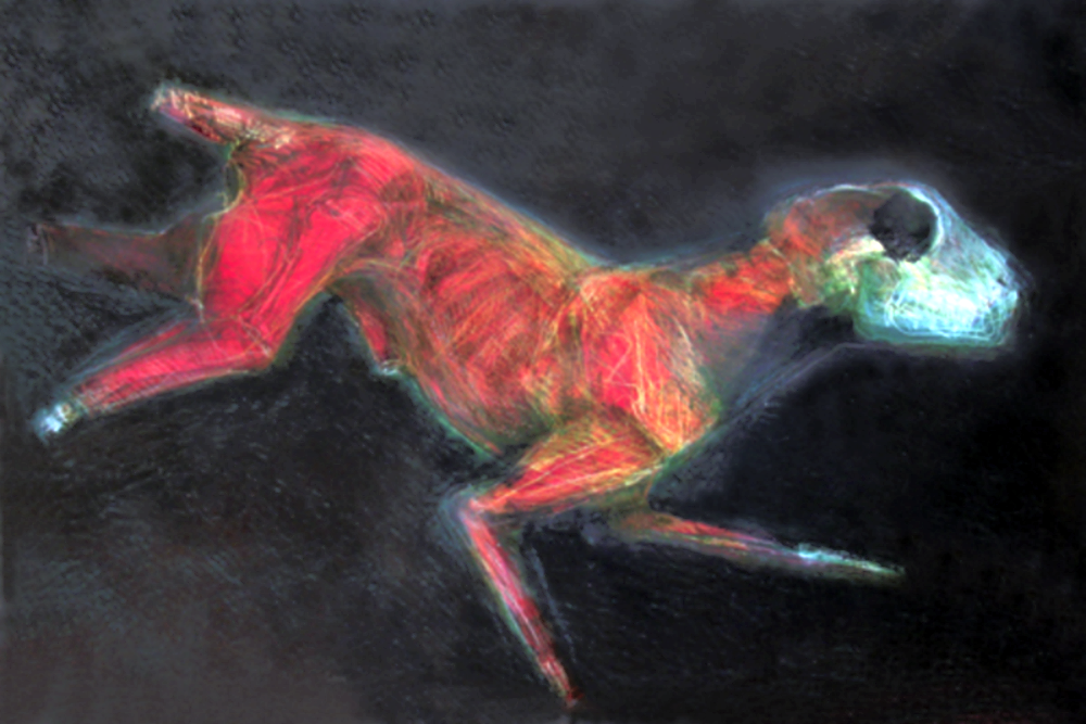 "Fleeing Dog   monoprint, image: 36"" x 24""  price on request     giclee prints available"