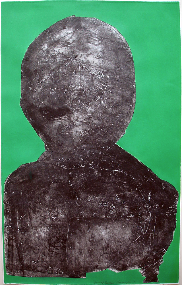 """Personage #3  collagraph, 38"""" x 24"""" , (1993)  price on request"""