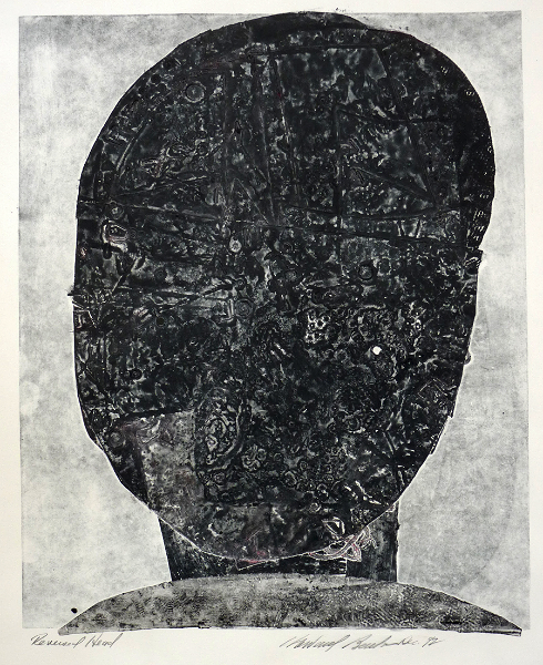"""Reverse Head   collagraph, 16.5"""" x 13.5""""  price on request, giclee prints available"""