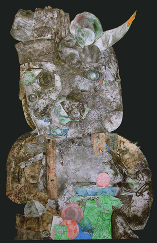 """Personage with Horn   collagraph and collage, 40"""" x 27"""" (1993)  price on request"""