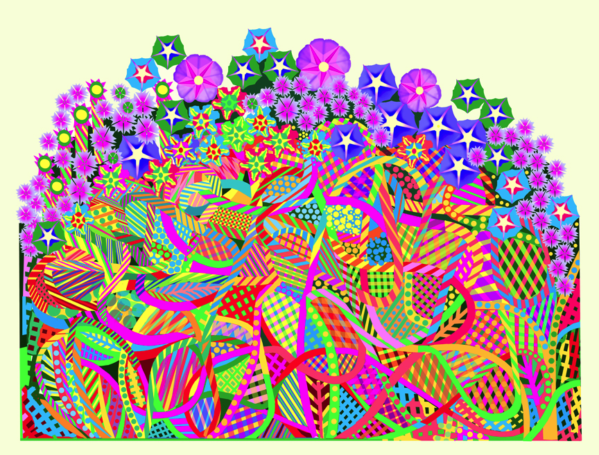 "August's Garden of Joy   computer generated, image 24"" x 18"" on 31"" x 26"" somerset velvet  edition of 10.                                                              price on request"