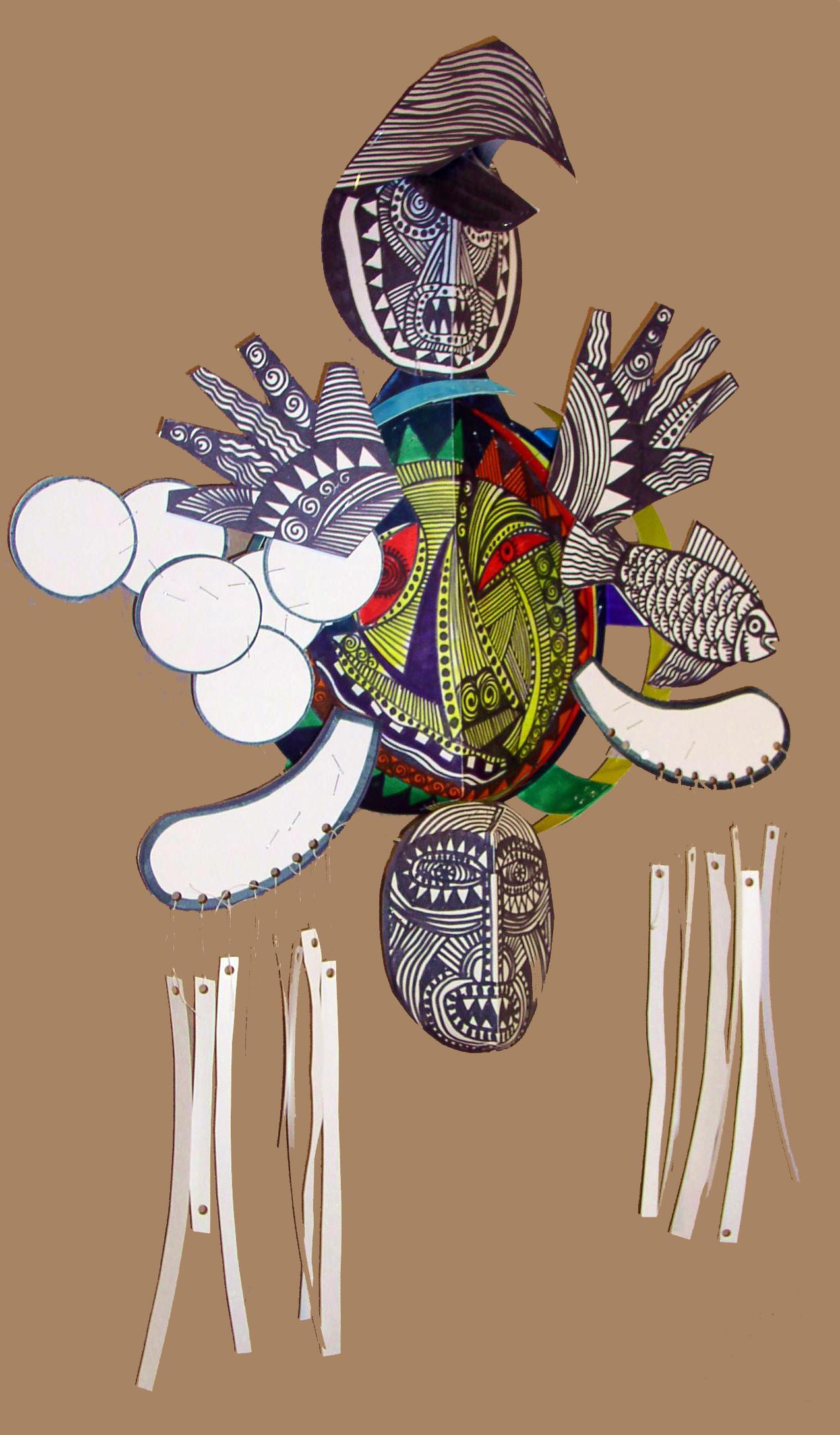 Inuit Mask        for mask workshop instruction  white oak tag, black and color markers