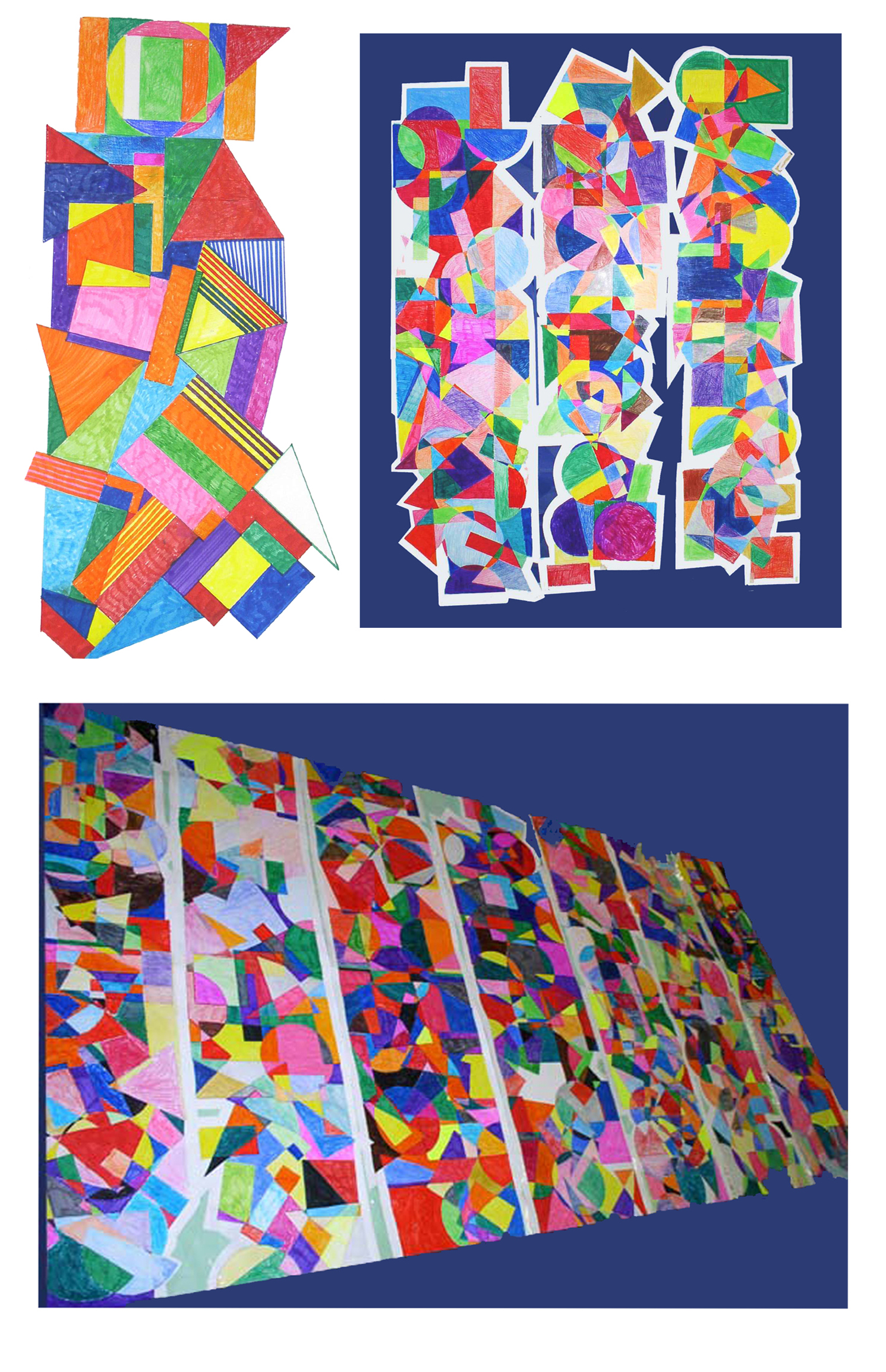 School wide 3 day residency  geometric overlapping shapes, mural design