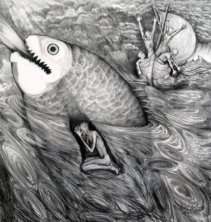 "Jonah and The Great Fish  Pencil, 30"" x 30"" Biblical Interpretations revisited, 1 of 6  2005: Princeton Theological Seminary, Princeton nJ  1999: Treasury Room, The Inter-church Center, NYC   The Gallery at Presbyterian church, Franklin Lakes, NJ"