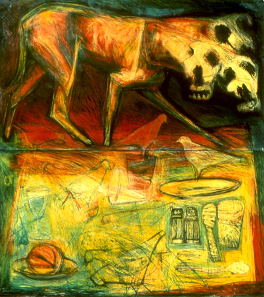 "Memories, Carpentras, Fr.  monoprint, caran,d'ache, ink, 48.5"" x 45""   Collection: Bergen Museum of Art, NJ"