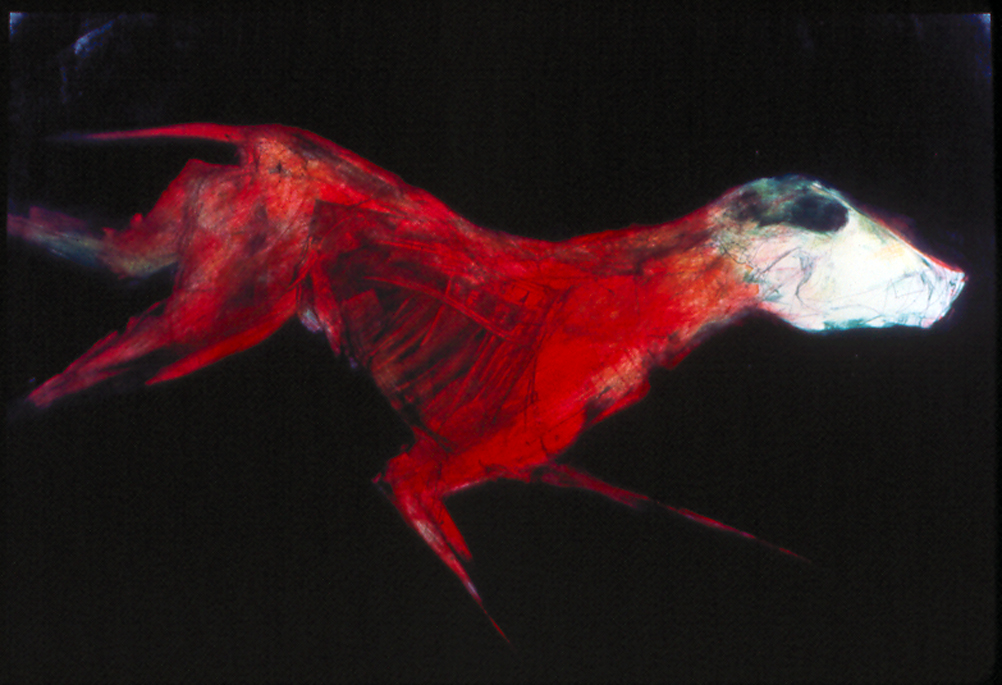 "Fleeing Dog  , 2 monoprint, image: 36"" x 24"" private collection"