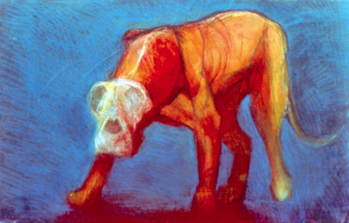 "Standing Dog #3  monoprint, image: 27"" x 17"",  private collection"