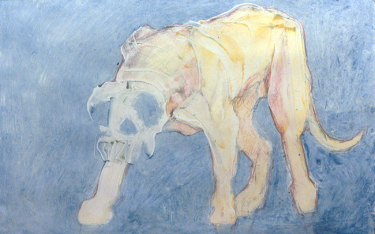 "Yellow Dog on Blue Field , Ghost Image monoprint, image: 27"" x 17"",      giclee available           price on request"