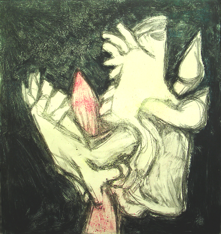 "Screaming Head  #2         monoprint, image: 18.5"" x 19.5""  price on request"