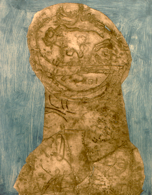 """Personage, ghost image on blue background   collagraph, 24"""" x 19""""  collection of the artist"""