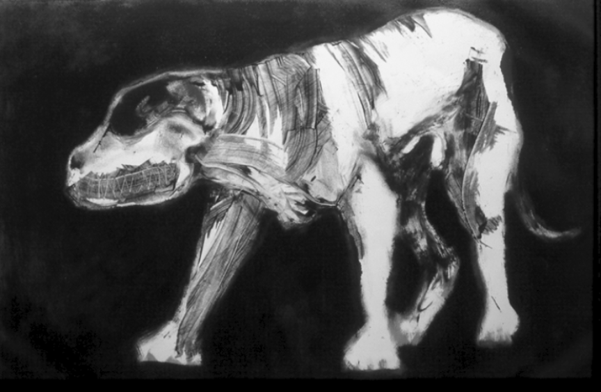 "Standing Dog #2   monoprint, image: 27"" x 17""  private collection"