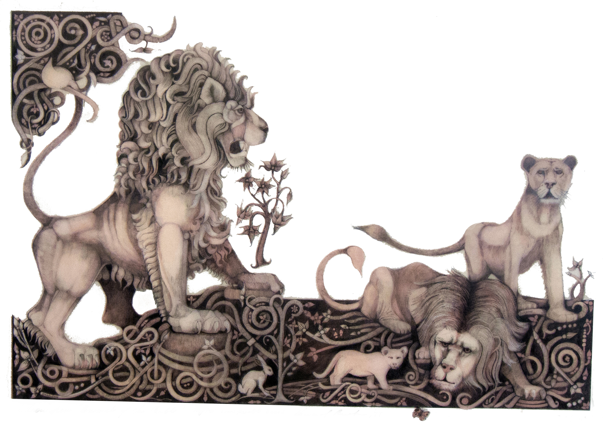 animals of the bible Lion line over red plate,a.jpg