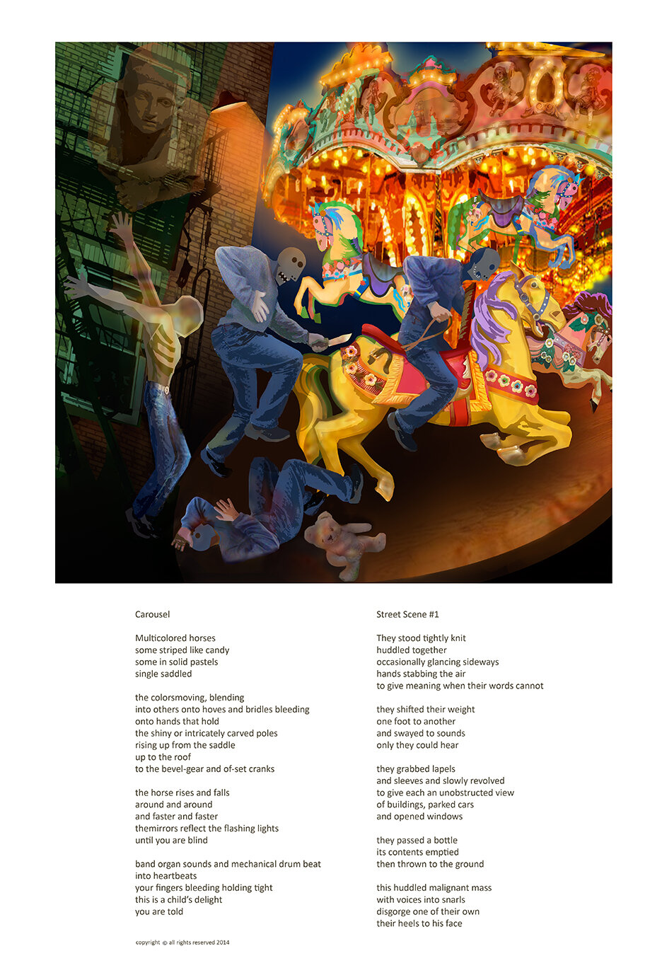 2a. Carousel with two poems,  street scene and carousel with carousel image on 13 x 19..jpg