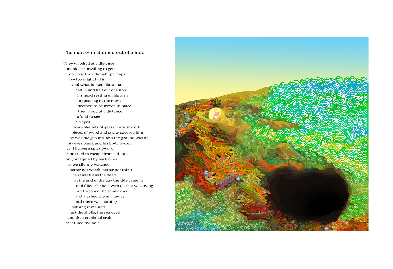 9a) The Man Who Climbed out of a Hole, with poem,18 x 24 framed.jpg