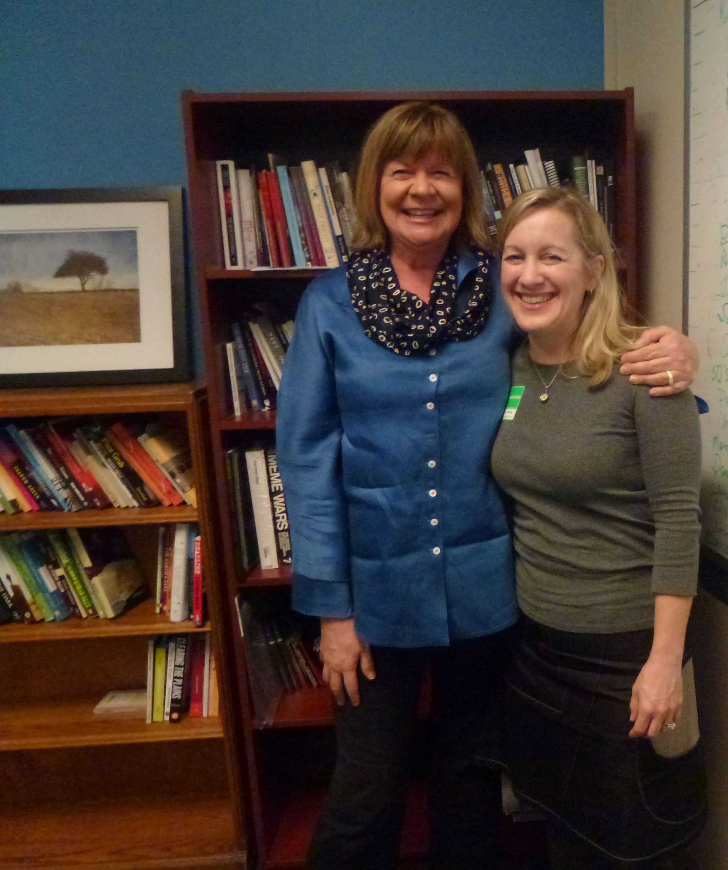 Shelagh Rogers of CBC Radio's  The Next Chapter   and journalist, writer and Page Turner winner Christine Fischer Guy.