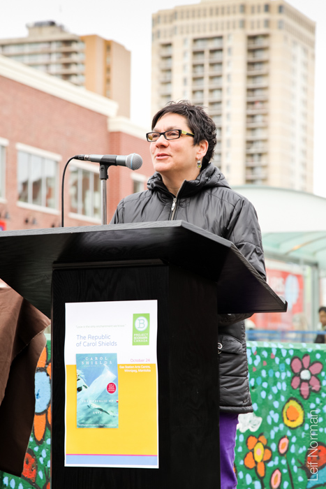 Winnipeg Councillor Jenny Gerbasi, who was instrumental in bringing the Bookmark to Osborne Village.
