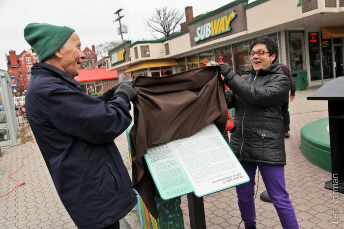 Don Shields and Councillor Jenny Gerbasi unveil Bookmark 13:  The Republic of Love   by Carol Shields.