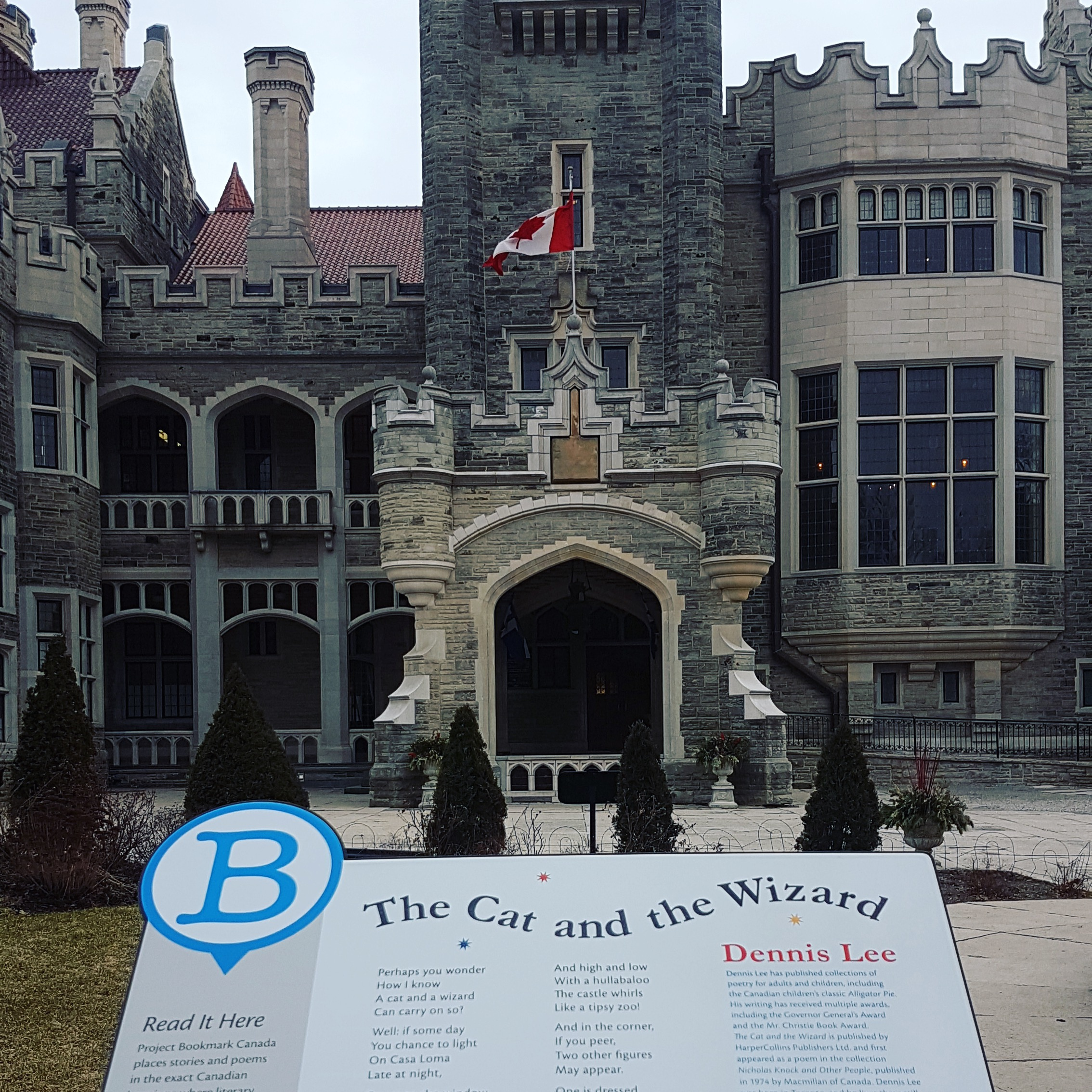 - Our most recent plaque is at Casa Loma commemorating Dennis Lee's The Cat and the Wizard with illustrations by Gillian Johnson. Our first children's Bookmark, this site also has a special exhibit with readings by Dennis Lee and animations by Accounts and Records.