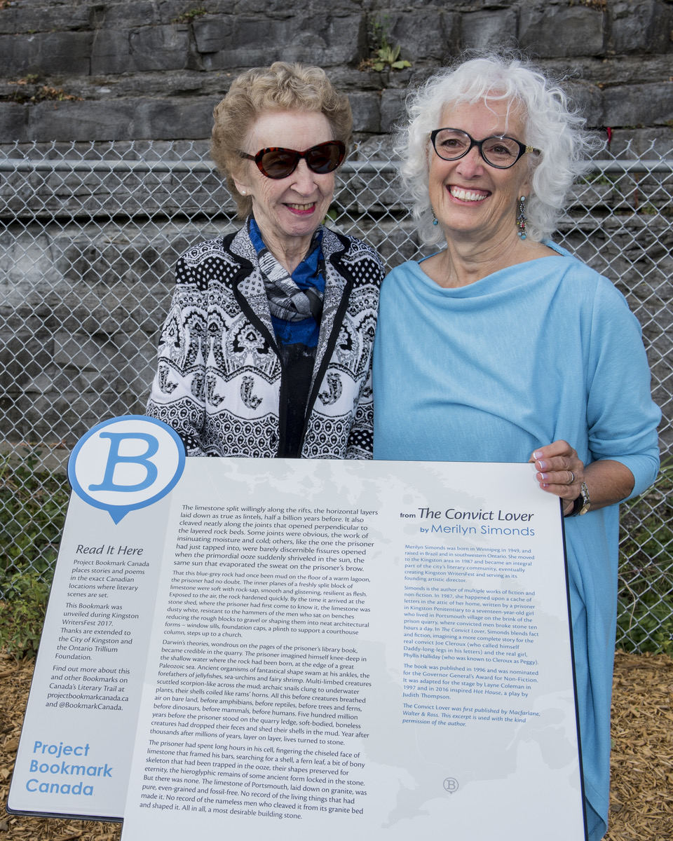 "Dorothy MacDonald, niece of ""Peggy,"" and Merilyn Simonds at the freshly unveiled Bookmark, September 30, 2017. Photo credit: Richard Cooper"