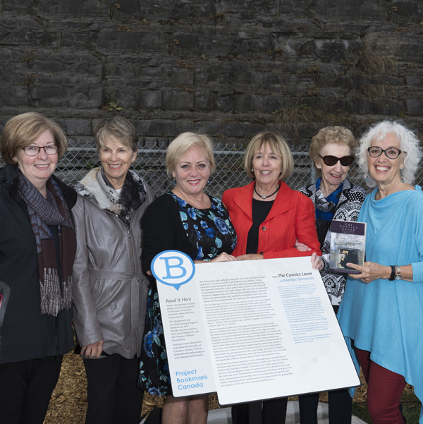 Kingston WritersFest's Jan Walter (original publisher); Project Bookmark Canada's Linda Hughes, Laurie Murphy and Hughena Matheson; Dorothy MacDonald and author Merilyn Simonds. Photo credit: Richard Cooper.