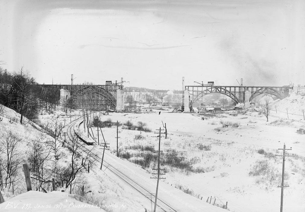 Construction of the Bloor Street Viaduct, site of Project Bookmark Canada's #1 Bookmark, for Michael Ondaatje's   In the Skin of a Lion