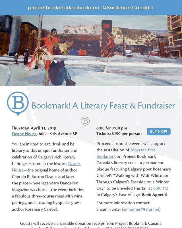 There are only a few days and a few tickets left for a true literary feast! A delicious three course meal and a special #poetry reading from author Rosemary Griebel all in support of a new bookmark in #Calgary  Full details here - projectbookmarkcanada.ca/news/yes  #CanLitTrail
