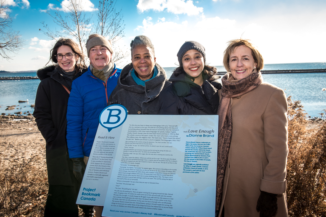 Bookmark's designer and board members join Dionne Brand, braving the cold on Toronto's Lakeshore at the unveiling of the  Love Enough  Bookmark.