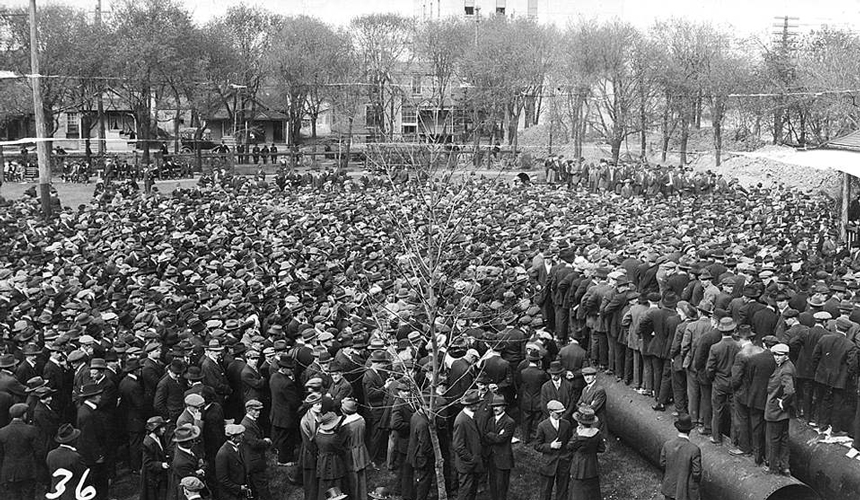 Scene from the Winnipeg Strike, 1919.