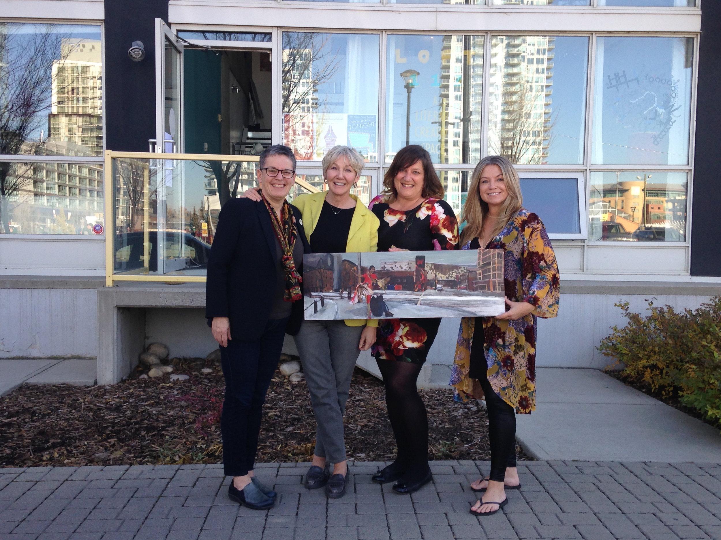Calgary Bookmark champion Sean Hunter, poet Rosemary Griebel, Loft 112 director Lisa Murphy-Lamb, and artist Stacey Walyuchow, at Loft 112, Calgary, 2019.