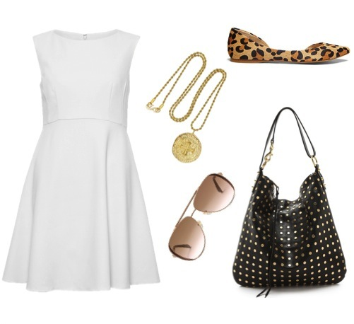 Flats   by Steve Madden.   Flare dress   by French Connection.   Studded hobo bag   by Rebecca Minkoff, from Shopbop.   Gold-plated pendant necklace   by Kenneth Jay Lane.   Aviator sunglasses   by MICHAEL Michael Kors.