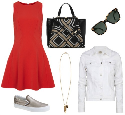 Fit and flare dress   by Topshop.   White denim jacket   by Mango.   Metallic slip-ons   by Vans, for J. Crew.   Patterned tote   by DVF.   Pendant necklace   by Banana Republic.   Sunglasses   by Warby Parker.