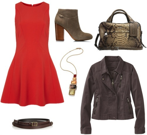 Fit and flare dress   by Topshop.   Cotton moto-jacket   by Athleta.   Suede booties   by Tory Burch.   Leather double wrap belt   by Lanvin, from the Outnet.   Python-embossed satchel   by Coach.   Pendant necklace   by Ippolita, from Bergdorf Goodman.