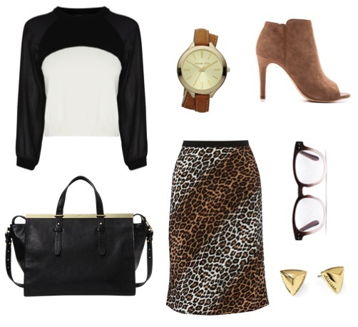 Leopard print silk skirt   by Elizabeth and James, from Net-a-porter.   Color block cropped sweater   by Karen Millen.   Open-toe booties   by Joie, from Shopbop.   Satchel   by Kate Spade Saturday.   Pyramid stud earrings   by House of Harlow 1960, from Piperlime.   Double-wrap watch   by Michael Kors.   Wine-colored eyeglasses   by Madewell.