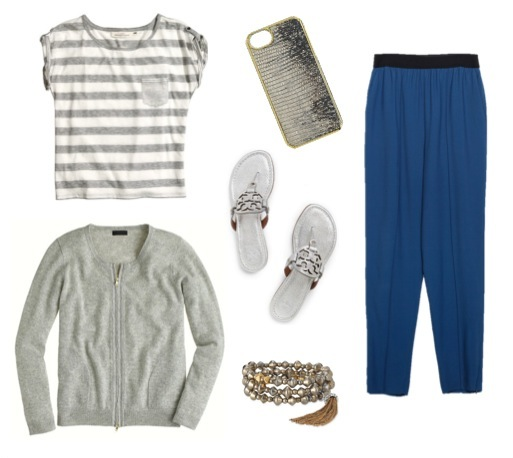 High-waist trousers   by Zara.   Striped top   by H&M.   Cashmere zip cardigan   by J. Crew.   Silver sandals   by Tory Burch.   Bronze tassel bracelets   by Stella & Dot.   Iphone case   by J. Crew.