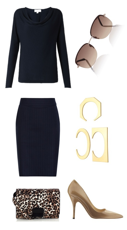 Cowl-neck sweater   by Jigsaw.   Pinstripe pencil skirt   by Reiss.   Nude patent heels   by Kate Spade New York, from Piperlime.   Sunglasses  ,   bag   by Karen Millen.   Geometric cuff set   by J. Crew.