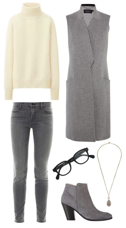Cashmere turtleneck sweater   by Uniqlo.   Sleeveless wool coat   by Karen Millen.   Skinny jeans   by J Brand, from MatchesFashion.   Suede ankle boots   by Barney's New York.   Stone drop pendant   by Jigsaw.   Eyeglass frames   by J. Crew.