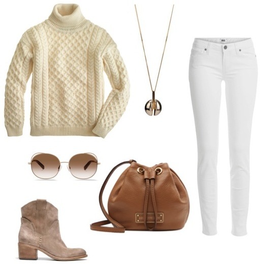 Her c able-knit turtleneck   sweater by J. Crew.   Leather drawstring bag   by Marc by Marc Jacobs.   Suede boots   by Dolce Vita.   Silver and gold pendant   by Chloé.   Sunglasses   by Warby Parker.