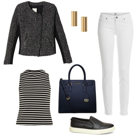 Her t weed moto jacket   by Rebecca Taylor.   Boat neck striped top   by River Island.   Perforated slip-ons   by Steve Madden.   Navy tote   by Michael Kors.   Stud earrings   by Banana Republic.