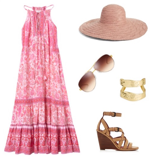 Print midi dress   by Rebecca Taylor.   Rose straw hat   by Nordstrom.   Leather stacked-heel wedge   by Coach.   Gold cuff bracelet   by Karine Sultan.   Aviator sunglasses   by Tory Burch.