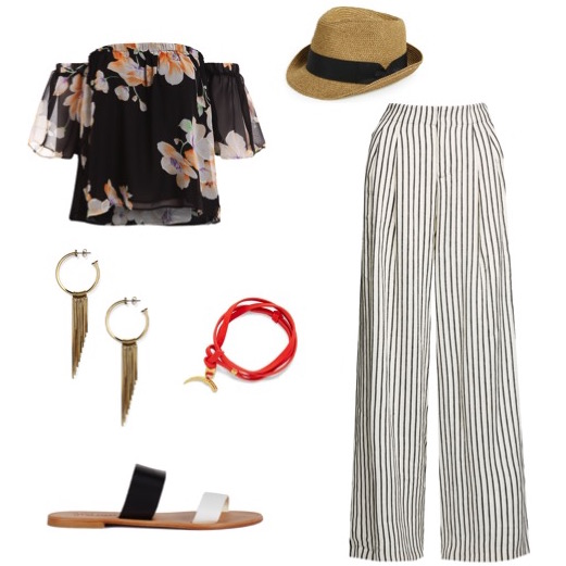 Floral print off-the-shoulder top   by Romwe.   Cream and black striped pants   by Alice and Olivia.   Slip-on sandals   by Joie.   Fringe hoop earrings   by Rebecca Minkoff.   Leather wrap bracelet   by Tory Burch.   Straw fedora   by Nordstrom.