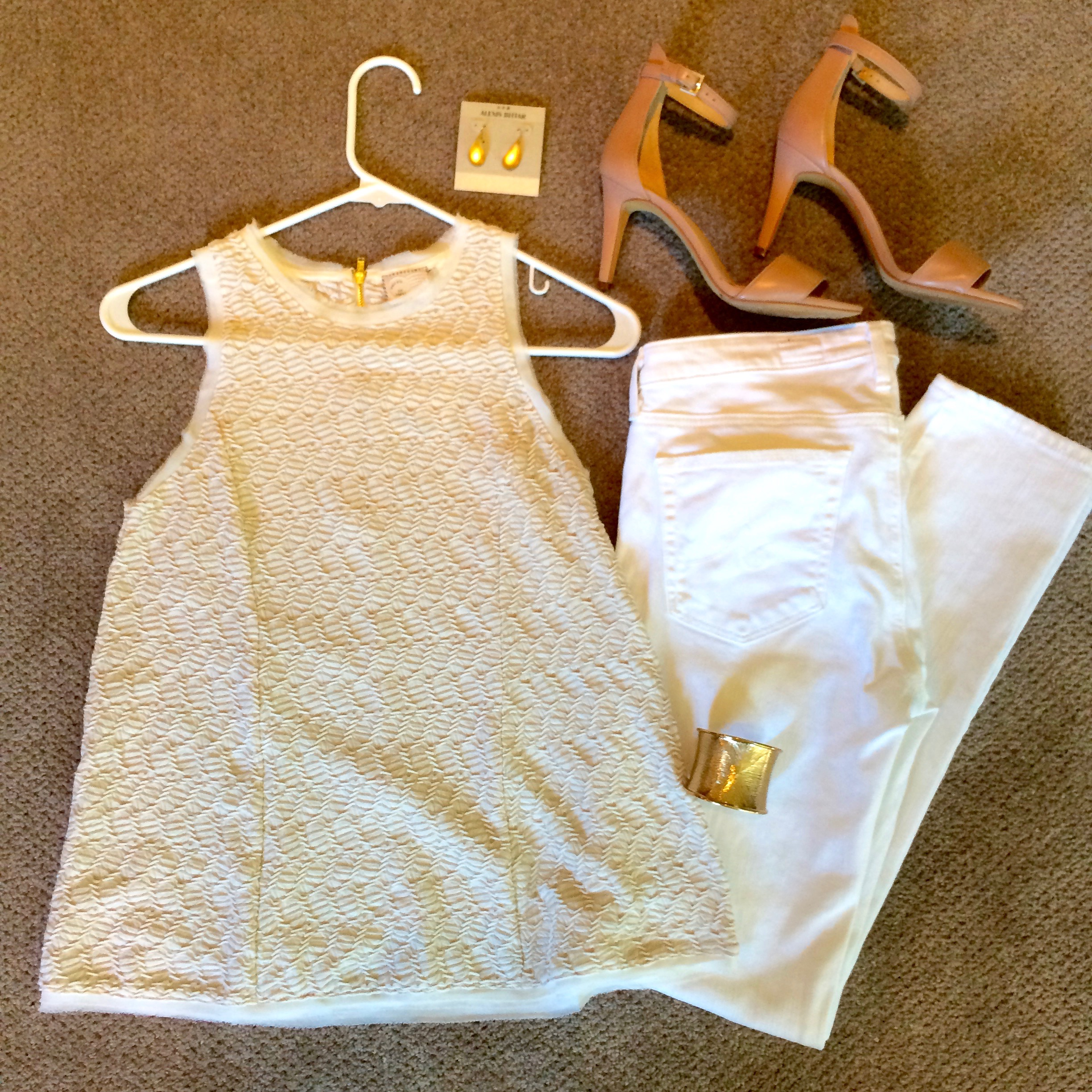 I created this look for   a client  , as a fun 'date night' outfit that's a bit different from her everyday. The best thing is that it's so simple - a textured ivory top, white jeans, wear-with-everything nude sandals, and some gold jewelry, and she's out the door...
