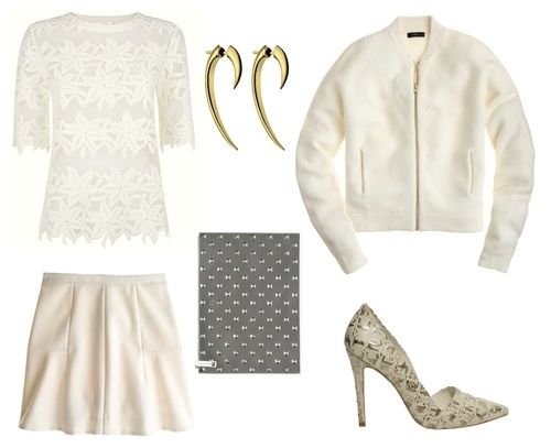 This look is from a   previous blog post  , where I extolled the virtues of shades of white in winter. I love how this look combines large scale lace with a boiled wool jacket, accented by a studded clutch and metallic snake-print heels. It's very girly, but with a dose of edge, and I just love that!