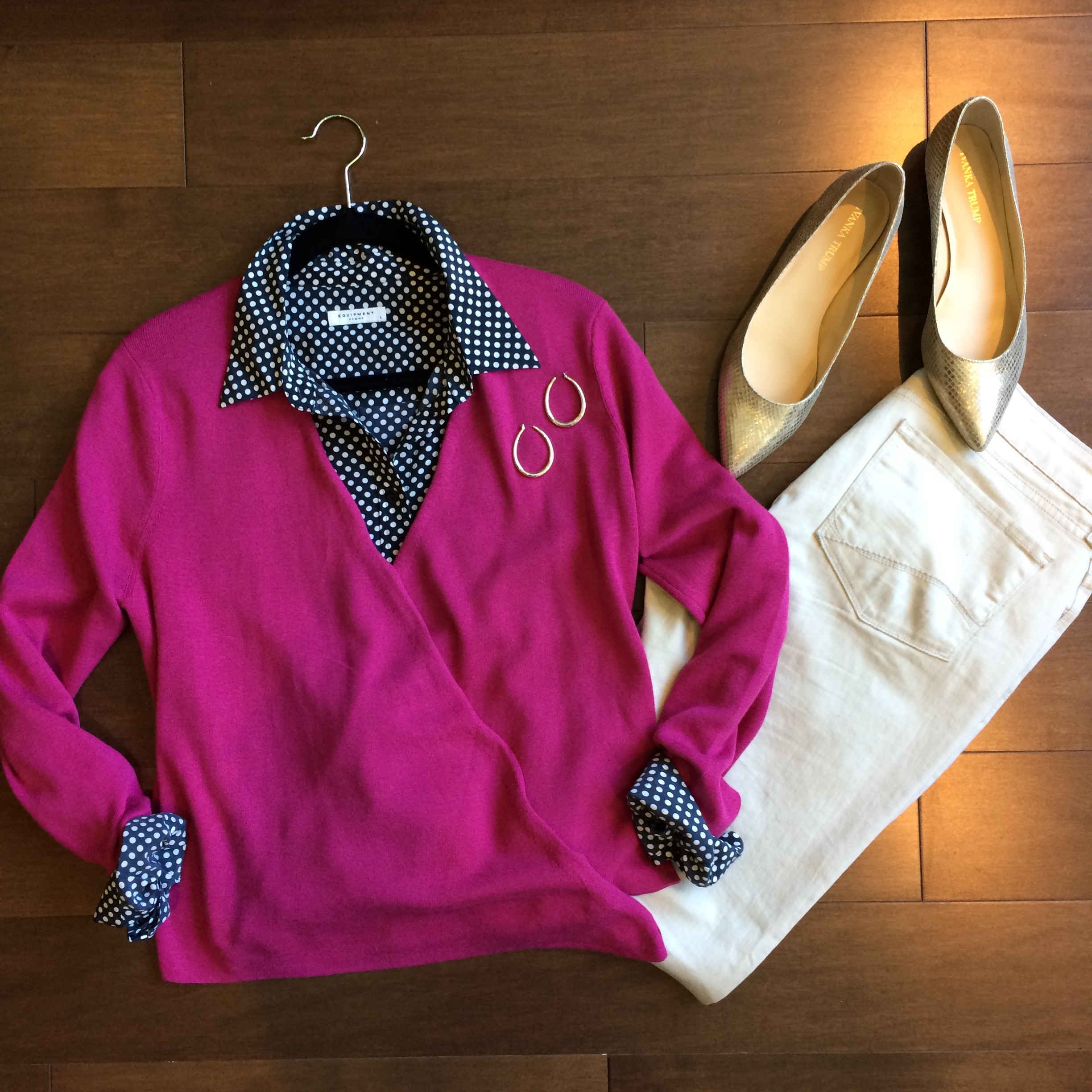 I created this outfit for a client who works in a very business casual office, but wanted to crank it up a notch. So we took a navy dot blouse and white jeans (already in her closet) and added this wrap cardigan for a look that's professional and polished, but not stuffy or too dressed up.