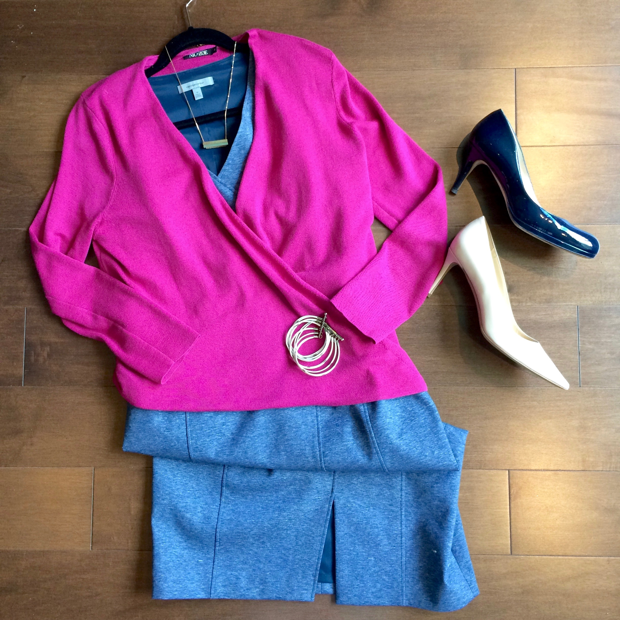 The same client (as above) has occasional dressier days at work - so I again grabbed the fuchsia cardigan, and paired it with an indigo dress. She can take this outfit from workday to dinner with clients, without missing a beat.