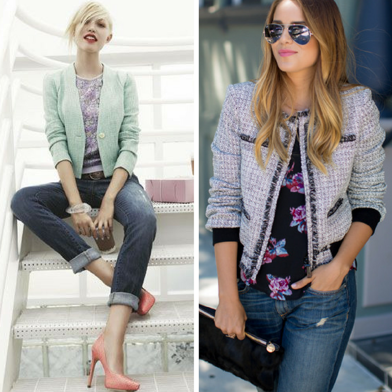 The most straightforward way to enjoy this style duo is by taking your trusty tweed jacket, and wearing it over a floral blouse and jeans. Simple, fun, and done!