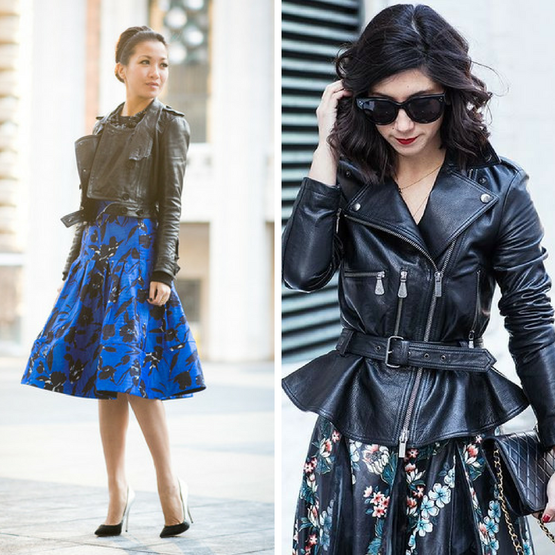 A very of-the-moment look is a dressy dress with a leather moto jacket. It's the epitome of masculine and feminine, and is an exciting way to play with the concept.
