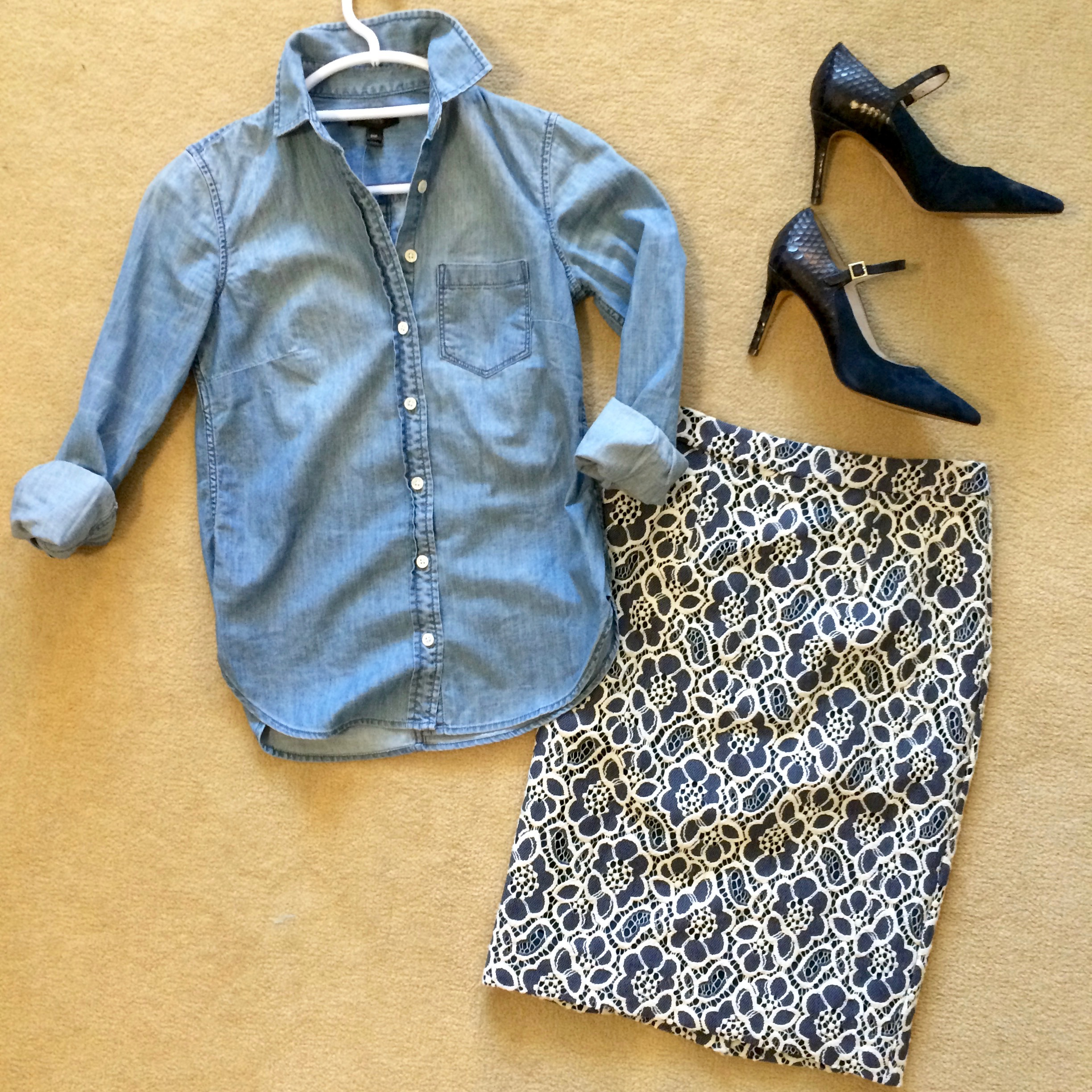 I LOVE this lace pencil skirt/chambray shirt combo I created for   my client  . It's masculine vs. feminine, lace vs, denim, sexy vs. utilitarian -delicious!
