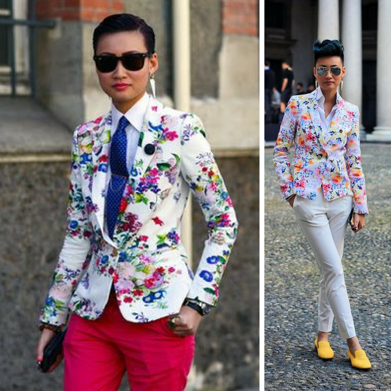 I'm truly inspired by how this street-style maven turns menswear on it's head with these floral blazers. There's no doubt that she's a woman, but she definitely knows how to play the game...